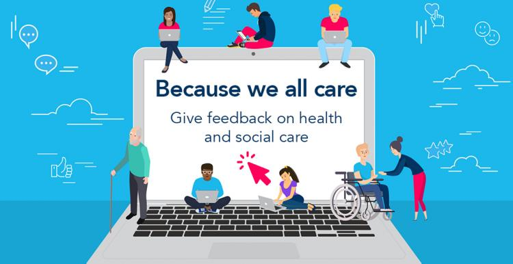 Laptop with illustrated people sharing feedback, text says